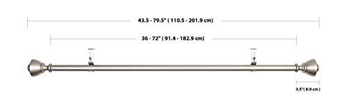 AmazonBasics - Barra de cortina de 2,54 cm de diámetro, con terminales en forma de urna, 90 a 180 cm, Níquel