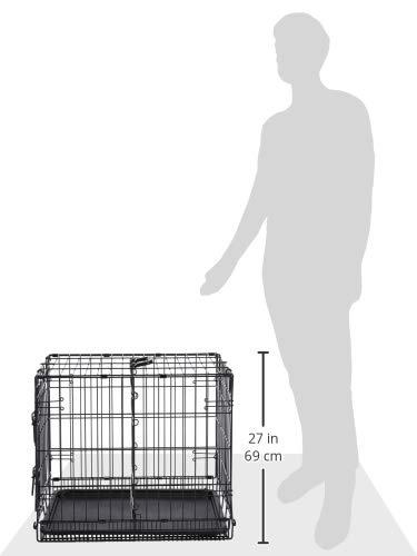 AmazonBasics - Jaula plegable de metal para mascota (una puerta, 61 cm largo)