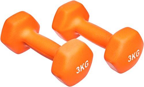AmazonBasics - Par de mancuernas de neopreno, 2 x 3 kg, Naranja
