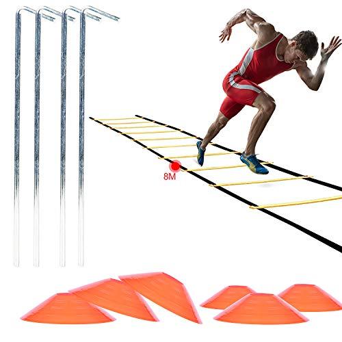 AMIGOB 4PCS Kit Entrenamiento Velocidad y Agilidad de Fútbol, Escalera de Agilidad de 8M, Conos, Clavos Metálicos y Bolsa de Transporte para Fútbol, Fitness, Deportes