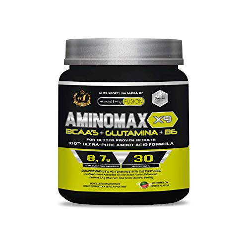 Aminoácidos ramificados BCAA 100% puros | Aminoácidos esenciales | Con BCAA´S + glutamina + vitamina B6 | Aumenta tu masa muscular y obtén una rápida recuperación | Sabor a sandía | 30 tomas