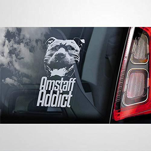 Amstaff Addict vinilo adhesivo para coche, perro a bordo, accesorios para coche, calcomanía para portátil, decoración del coche, pegatinas para parachoques, para ventanas, coches, camiones, etc.