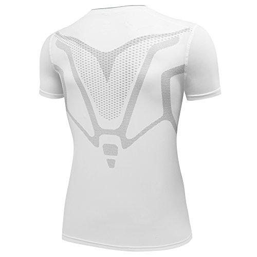 AMZSPORT Camiseta de compresión de Mangas Corta para Hombre Deportes de Secado Rápido Funcionamiento Baselayer Blanco Size M