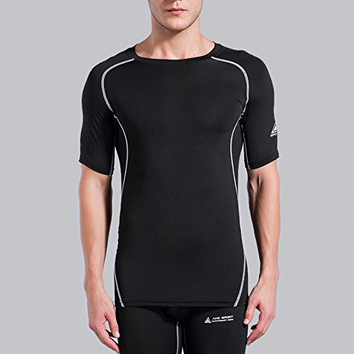 AMZSPORT Camiseta de compresión de Mangas Corta para Hombre Deportes de Secado Rápido Funcionamiento Baselayer, Negro, M