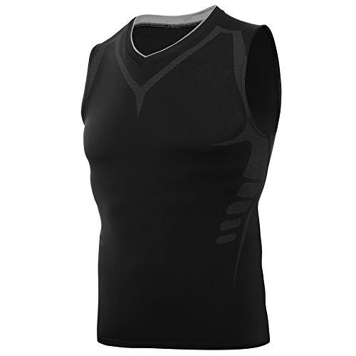 AMZSPORT Camiseta de compresión sin mangas para hombre Deportes de Secado Rápido Baselayer Funcionamiento Tirantes Negro M