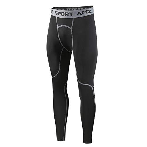 AMZSPORT Hombres Legging de Compresión Pantalones para Correr Mallas Deportivas para Gimnasio, Negro Gris L