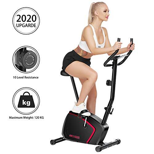 Ancheer Bicicleta de Fitness Vertical 10 Niveles de Resistencia Magnética, Bicicleta Estática con Pantalla LCD, Soporte para Movil iPad, Mango de Impulso, Carga Máxima: 120KG (Negro)