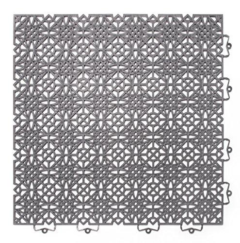Andiamo 202403 - Set de baldosas de plástico para suelo, 38 x 38 cm, 7 unidades, 1 m², color gris