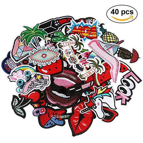 Anpro 40 piezas Parches ropa Termoadhesivos,Parches Lentejuelas,Parches ropa, Parches bordados cosidos, insignia de parche bordado,decoración DIY para ropa,bolso