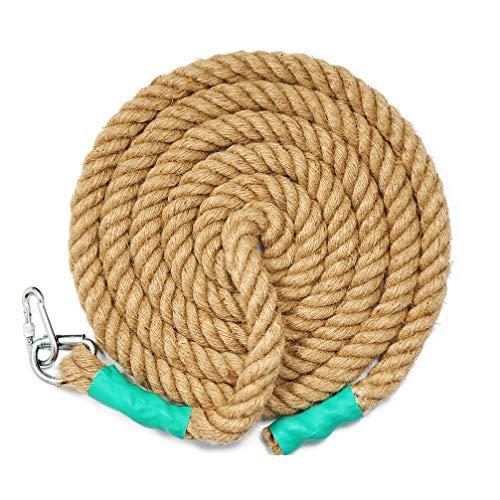 Aoneky Cuerda para Trepar de Yute - 30/40/50mm, 3-9M, Cuerda de Escalada con Mosquetón, Cuerda de Trepa para Crossfit Entrenamiento Gimnasio (30mm×3m)