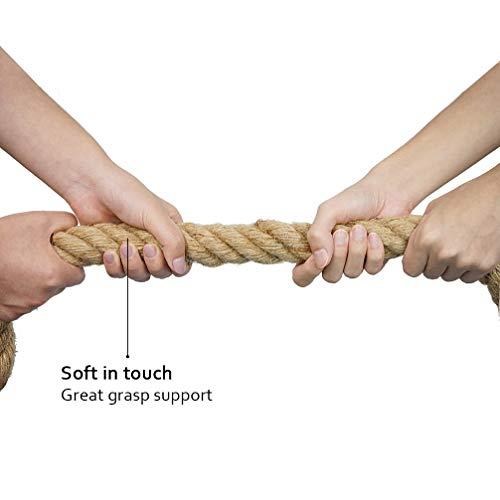 Aoneky Cuerda para Trepar de Yute - 30/40/50mm, 3-9M, Cuerda de Escalada con Mosquetón, Cuerda de Trepa para Crossfit Entrenamiento Gimnasio (30mm×4m)