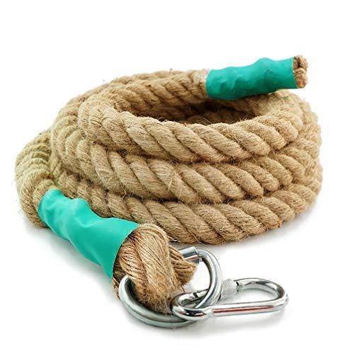 Aoneky Cuerda para Trepar de Yute - 30/40/50mm, 3-9M, Cuerda de Escalada con Mosquetón, Cuerda de Trepa para Crossfit Entrenamiento Gimnasio (30mm×6m)