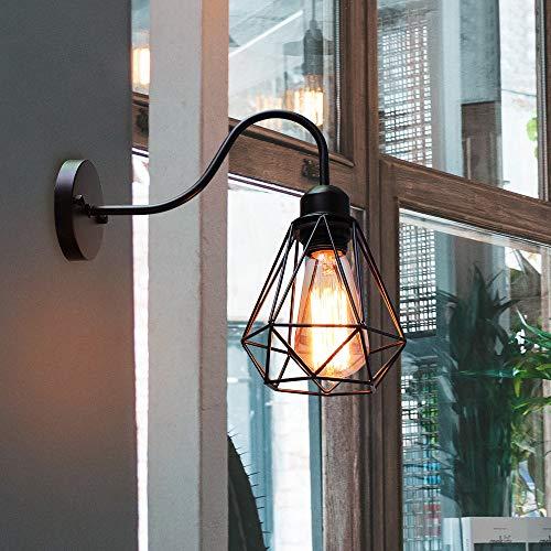 Apliques de Pared Vintage Jaula Lámpara Industrial Lámpara de Pared,Casquillo E27,Color Negro,Metal Sconce sombra de iluminación