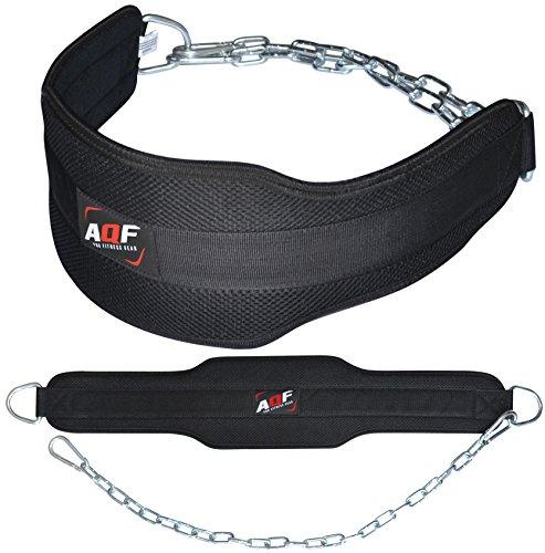 AQF Cinturón de inmersión para Gym Culturismo y Levantamiento de Pesas de Neopreno con Cadena de inmersión para Entrenamiento y Ejercicios de Gimnasio