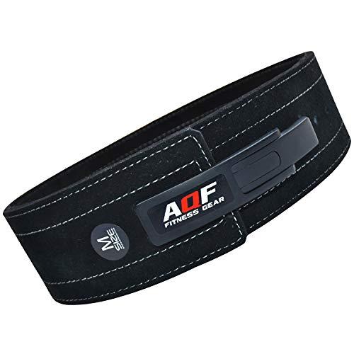 """AQF Cinturon Lumbar Gimnasio para Levantamiento De Cinturon Gym Hebilla de Palanca Pesas De Cuero Acolchado De 4"""" Pulgadas para Musculación De Físico (XL)"""