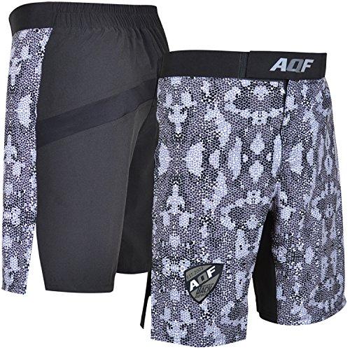 AQF Shorts Deportivos Hombre para MMA Combate Pantalones Muay Thai para Kick Boxing para Lucha En Jaula Shorts Tipo Camuflar Grises
