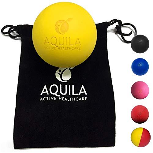 AQUILA ACTIVE Pelota Lacrosse para Masaje - Rehabilitacion - Pilates y Fisioterapia - automasaje tu miofascial Trigger Point con el Bolso de Lazo (Amarillo)