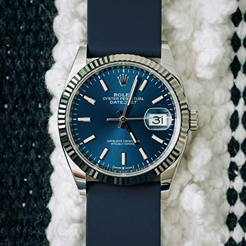 Archer Watch Straps | Repuesto de Correa Reloj de Silicona para Hombre y Mujer, Caucho Fácil de Abrochar para Relojes y Smartwatch | Azul Noche, 22mm