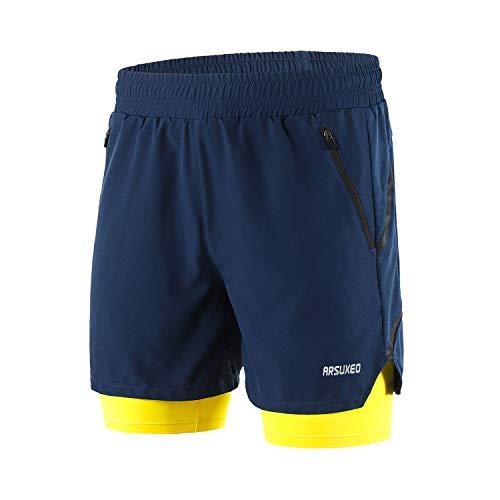 ARSUXEO B191 - Pantalones cortos de running activos 2 en 1 con 2 bolsillos con cremallera - Azul - Medium