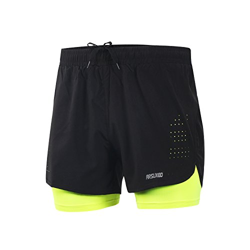 ARSUXEO Pantalones Cortos para Correr Entrenamiento Activo 2 en 1 Tamaño para los Hombres Large Verde