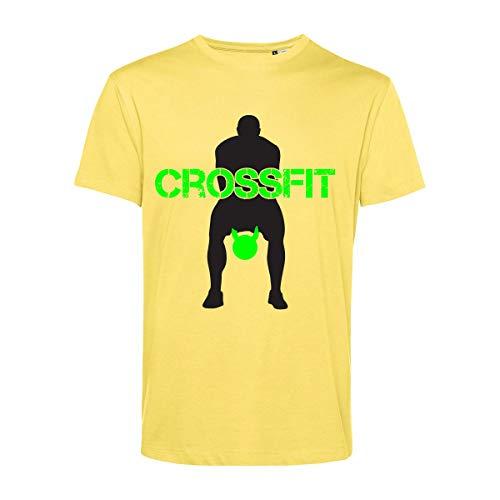 Art T-shirt, Camiseta Crossfit Kettlebell, Hombre amarillo XXL