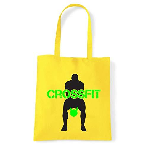 Art T-shirt, Shoulder Crossfit Kettlebell, Shopper, Mare amarillo Talla única