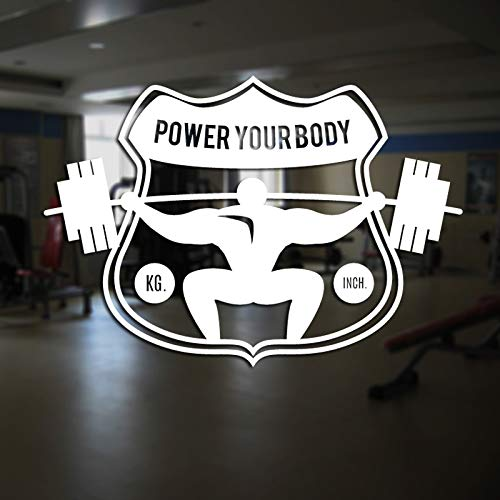ASFGA Calcomanía de Fitness Gym Barbell Sticker Bodybuilding Poster Vinilo Tatuajes de Pared Mural Fitness Crossfit Encontrar calcomanía Muscle Fitness Sticker Car Glass 30x43cm