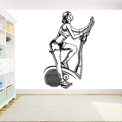 ASFGA Fitness Gimnasio Bicicleta Pared calcomanía Deporte motivación Fitness Chica Vinilo extraíble Etiqueta de la Pared Gimnasio Sala Familiar decoración Arte Mural