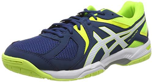 Asics Gel-Hunter 3, Zapatos de Bádminton para Hombre, Azul (Poseidon/White/Safety Yellow), 44.5 EU