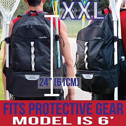 Athletico Lacrosse Bolsa – Mochila extragrande Lacrosse – Capacidad para todos los equipos de Lacrosse o hockey de campo – Dos soportes para palos y compartimento separado para tacos, XL, Negro