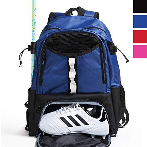 Athletico Youth Lacrosse Bag – Mochila de Lacrosse Extragrande – para Todos los Equipos de Lacrosse o Hockey – Dos Soportes para Palos y Compartimento Separado para Tacos, Azul