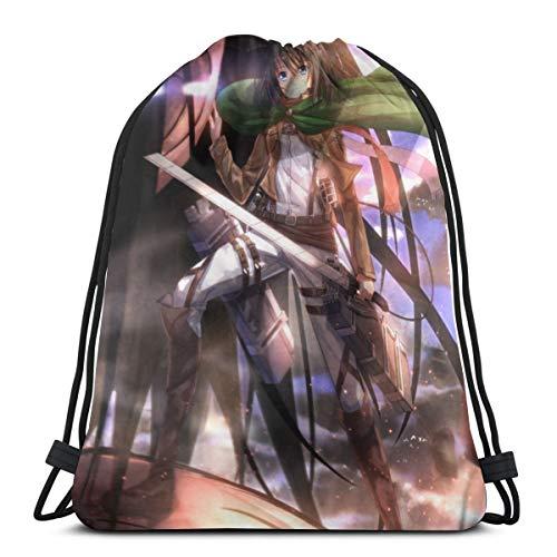 Attack on Titan - Mochila con cordón, bolsa de almacenamiento a granel para gimnasio y viajes
