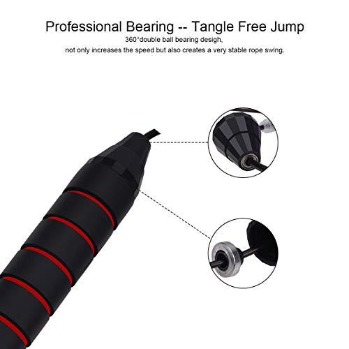BACKTURE Cuerda para Saltar, fácilmente Ajustable, 2.8m Cable, rodamientos de Bolas de Acero ergonómico y Mango Antideslizante para Suelo de PVC para Fitness, Double Unders, Crossfit, Gym