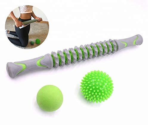 Bafeat Pro   Rodillo de masaje muscular palo con 2 pelotas Lacrosse   Liberación miofascial   Set completo para dolor de pies, piernas, espalda y cuello.+ Ebook con instrucciones de uso.