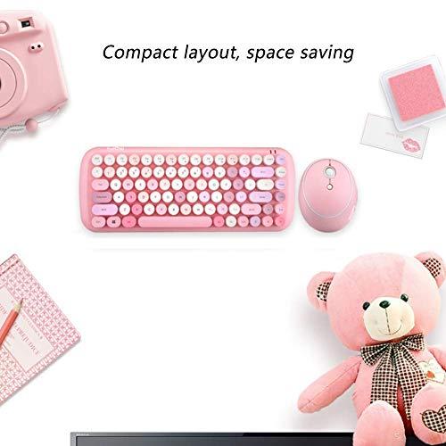 Baibao - Mini teclado inalámbrico y ratón Set Punk Key Cap Girl Pink Color mixto sin cables, teclado y ratón inalámbrico Combinación-Blanco (Color: Rosa)