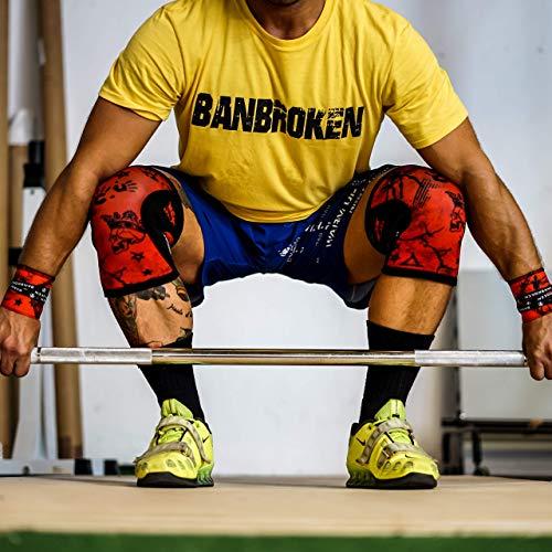 BanBroken Rodilleras RED SKULL (2 unds) - 5mm Knee Sleeves - Halterofilia, Deporte Funcional, Crossfit, Levantamiento de Pesas, Running y Otros Deportes. Unisex. (S)