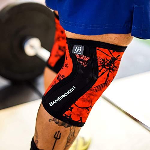 BanBroken Rodilleras RED SKULL (2 unds) - 5mm Knee Sleeves - Halterofilia, Deporte Funcional, Crossfit, Levantamiento de Pesas, Running y Otros Deportes. Unisex. (M)