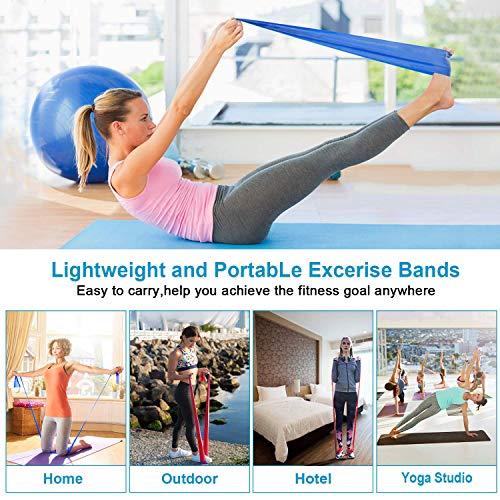 Bandas Elasticas Fitness 3 Piezas Resistencia Bandas de Ejercicios para Yoga, Pilates, Crossfit, Estiramientos, Fisioterapia, Entrenamiento de fuerza, Mujer y Hombre