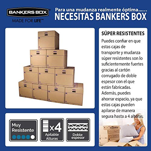 Bankers Box 6208201 Pack 10 Cajas de Cartón con Asas para Mudanzas, Almacenaje y Transporte Ultraresistentes, 45 Litros, Canal Doble Reforzado, 50 x 30 x 30 cm/Talla L