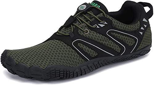 Barefoot Zapatillas Hombre Minimalistas Zapatillas Trail Antideslizante Zapatos Minimalistas Five Fingers Verde 45 EU