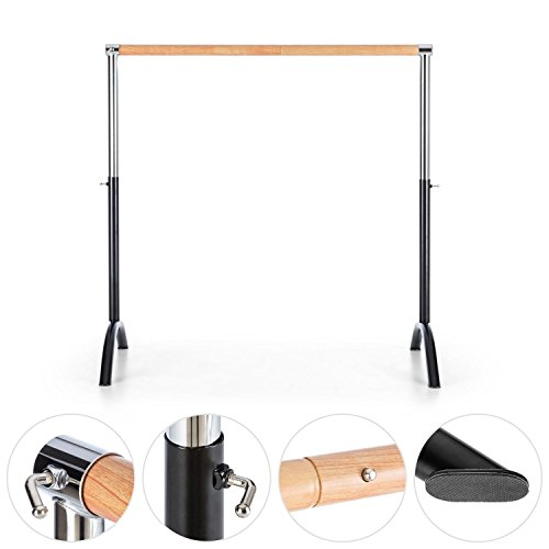 Barra de ballet Klarfit, móvil, de 110 x 113 cm, móvil, altura ajustable de 70 a 113 cm, sin montaje en la pared, buen agarre, diámetro de 38 mm, de acero, Preto