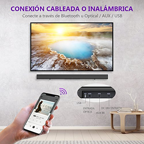 Barra de Sonido Bluetooth 4.2 de 32 Pulgadas, Sistema Bass réflex, Sonido Virtual Envolvente, Cable óptico Incluido, tecnología DSP, Negro