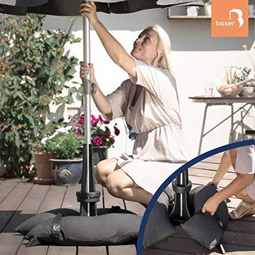 Baser Soporte para sombrilla con Sacos de Arena rellenables 30kg / 40kg / 50kg | Alternativa al Soporte de sombrilla de Granito con Ruedas | Recargable y con asa de Transporte (30kg, Gris Oscuro)