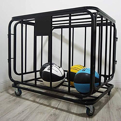 Bastidor de almacenamiento de baloncesto, equipo de balones deportivos Carrito de balones con ruedas, jaula de bolas apilable para fútbol, voleibol, fútbol, capacidad para más de 16 pelotas