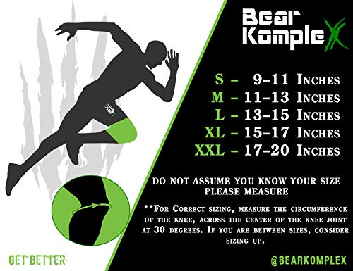 Bear KompleX Best Knee Sleeves (Sold AS A Pair of 2) Compression and Support for Weightlifting, and Powerlifting - 5mm Neoprene Sleeve for The Best Squats - Both Women & Men - by, Black Camo 5mm M