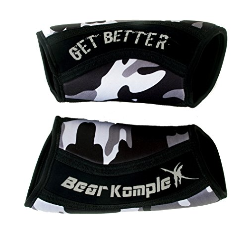 Bear KompleX Knee Sleeves (Sold AS A Pair of 2) Cross Training, Weightlifting, Powerlifting, Squats, and More. Neoprene Sleeves Come in 5mm Thickness and Multiple Colors, Black Camo 5mm Small