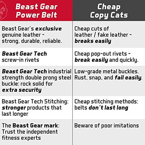 Beast Gear Cinturón Halterofilia – Cinturón Lumbar Powerlifting con Doble Hebilla – Cinturón Levantamiento de Peso de Piel Nobuck – 10 cm de Ancho y 10 mm de Grosor - M