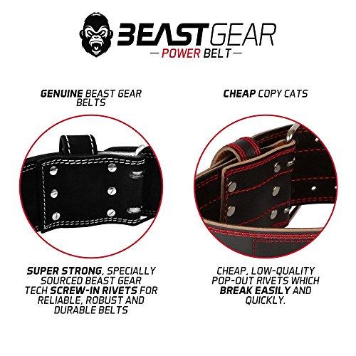Beast Gear Cinturón Halterofilia – Cinturón Lumbar Powerlifting con Doble Hebilla – Cinturón Levantamiento de Peso de Piel Nobuck – 10 cm de Ancho y 10 mm de Grosor - XL