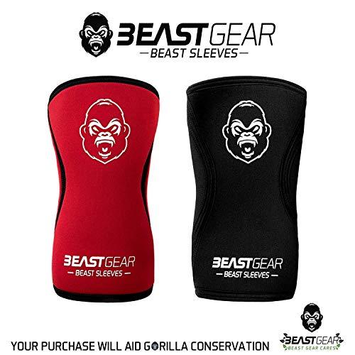 Beast Gear Rodilleras Deportivas Beast - Rodilleras Neopreno 5mm con Función Protectora y de Compresión - Ideal para Halterofilia, Crossfit, Powerlifting, Sentadillas, Running, Baloncesto y más - M