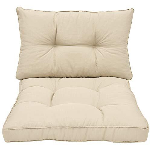Beautissu Cojines para Muebles de jardín XLuna Lounge sillas de Mimbre de Exterior Respaldo Grueso Acolchado Aprox. 60x40x12 cm Natural